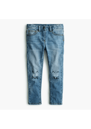 Girls' stretch toothpick jean with kitten knees