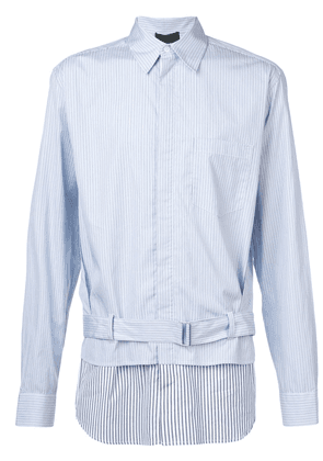 3.1 Phillip Lim Striped double-layered buckle shirt - Blue