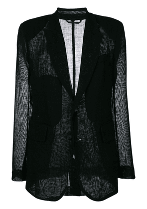 Ann Demeulemeester sheer panel blazer - Black