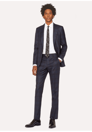 The Soho - Men's Tailored-Fit Navy And Burgundy Check Wool Suit
