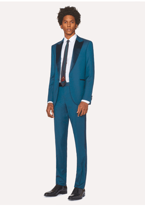 The Soho - Men's Tailored-Fit Teal Wool Evening Suit