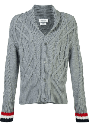 Thom Browne thick cable knit cardigan - Grey