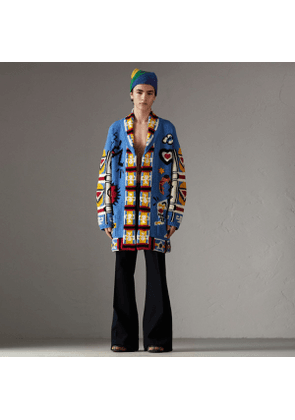 Burberry Wool Graphic Intarsia Cardigan, Blue