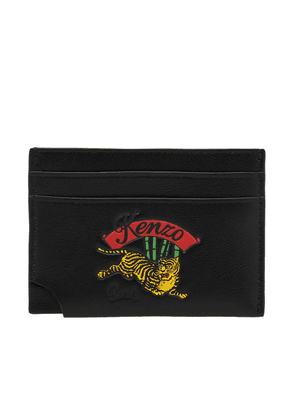 eeab9f25a51 Kenzo black tiny tiger zipped leather card holder | MILANSTYLE.COM