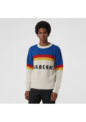 Burberry Striped Logo Intarsia Mohair Wool Blend Sweater, Blue