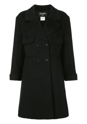 Chanel Vintage flared double-breasted coat - Black