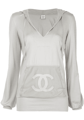 Chanel Vintage front logo loose hoodie - Grey
