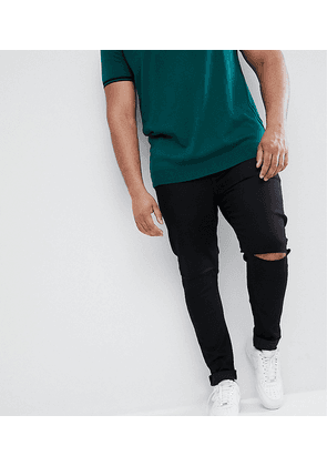 ASOS DESIGN Plus Super Spray On Jeans With Knee Rips In Black - Black