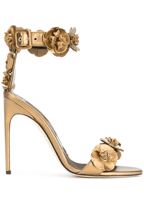 Brian Atwood 3D flower detail sandals - Brown