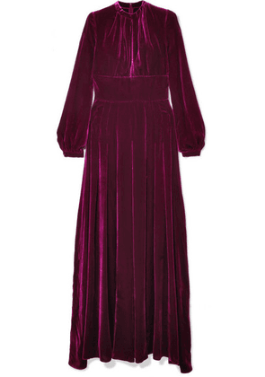 Raquel Diniz - Alma Pleated Silk-velvet Maxi Dress - Magenta