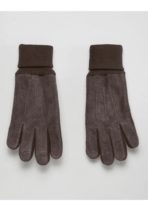 Dents Northumbria suede gloves with knitted cuff - Brown