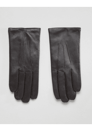 Dents Bath leather gloves with cashmere lining - Brown