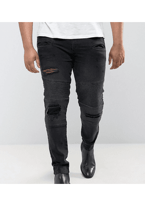 ASOS PLUS Super Skinny Jeans With Abrasions In Biker Style - Black