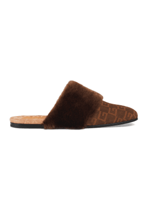 Suede Square G and faux fur slipper