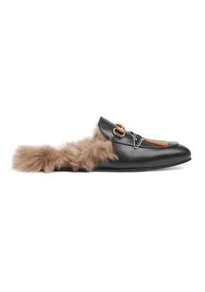 Princetown leather slipper with appliqu s