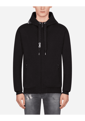 Dolce & Gabbana Sweaters - HOODED SWEATSHIRT WITH HEAT-PRESSED PATCH BLACK