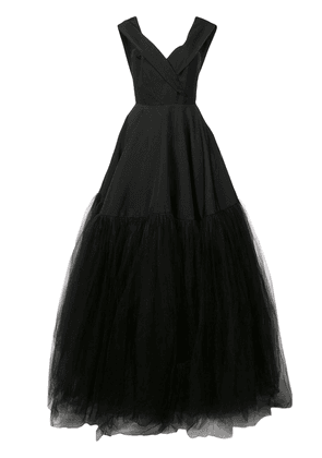 Christian Siriano off-shoulder tulle gown - Black