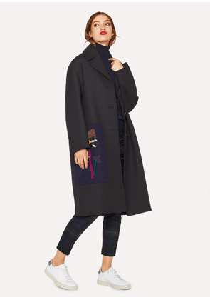 Women's Black Wool-Blend Twill Cocoon Coat With Appliqué Patch