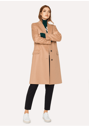 Women's Camel Wool And Cashmere-Blend Epsom Coat
