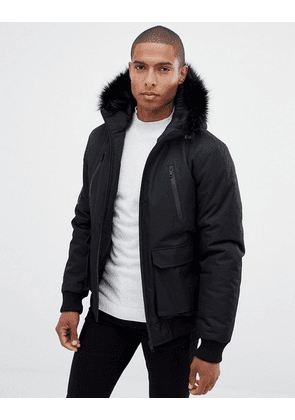fa2848d7d Brave Soul Quilted Parka Jacket with Faux Fur Trim Hood | Navy ...