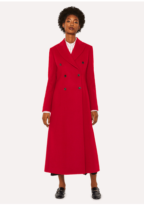 Women's Red Wool-Blend Double-Breasted Long Coat