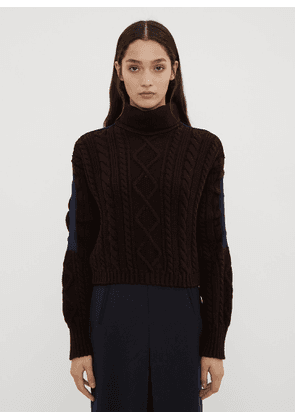 Atlein Cropped Cable Knit Sweater in Brown size FR - 38