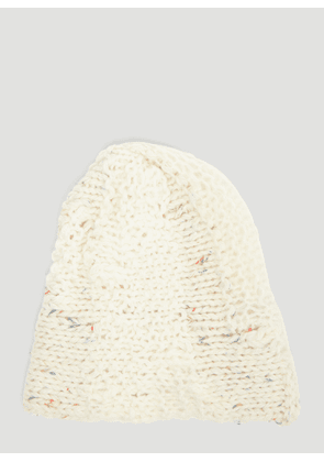 Flapper Omega Knit Beanie Hat in White size One Size