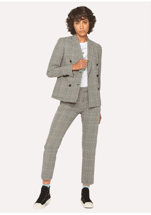 Women's Black And White Check Cotton Double-Breasted Suit