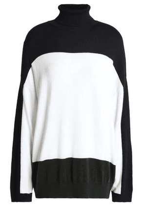 Claudie Pierlot Woman Two-tone Knitted Turtleneck Sweater White Size 3