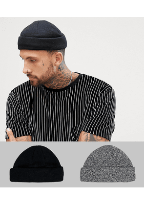 733877a37546d ASOS DESIGN mini fisherman beanie 2 pack in black   twist recycled  polyester SAVE - Multi