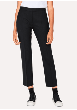 Women's Slim-Fit Black Wool-Hopsack Trousers With 'Acapulco' Linings