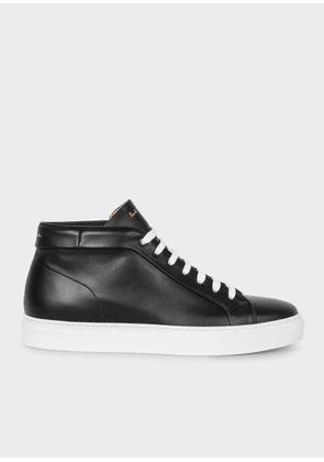 Men's Black Leather 'Ace' High-Top Trainers