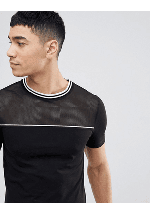 ebc6704c ASOS DESIGN muscle fit t-shirt with mesh front and tipping in black - Black