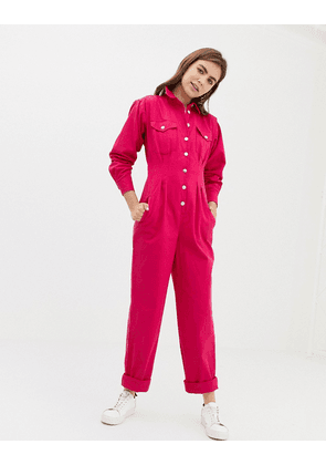 8f64f01a5b4 ASOS DESIGN boilersuit with waisted detail - Pink