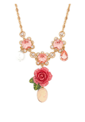 Dolce & Gabbana - Floral, Crystal And Charm Necklace - Womens - Pink