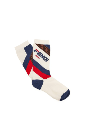 Fendi - Mania Logo Jacquard Cotton Blend Socks - Womens - White Multi