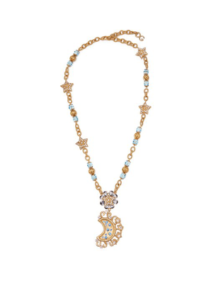Dolce & Gabbana - Moon And Star Crystal Embellished Necklace - Womens - Gold