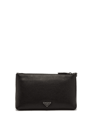 Prada - Logo Embellished Grained Leather Wash Bag - Mens - Black