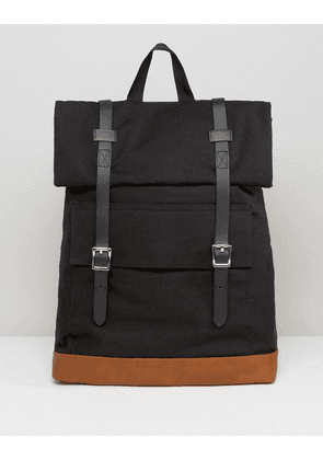 ASOS Backpack In Canvas With Long Buckle Straps - Black