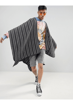 ASOS Festival Cape in Woven Design - Navy