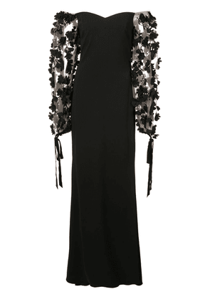 Badgley Mischka off-the-shoulder lace gown - Black