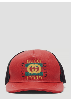225f8dc2d9a Gucci Logo Print Leather Baseball Hat in Red size M