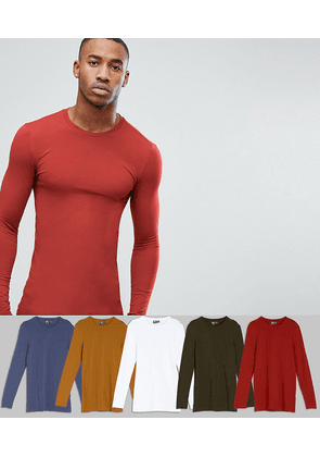 b857d37ae687 ASOS DESIGN longline muscle fit long sleeve crew neck t-shirt 5 pack SAVE