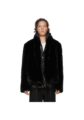 99% IS Black Layered Faux-Fur Coat