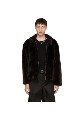 Christian Dada Brown Faux-Fur Jacket