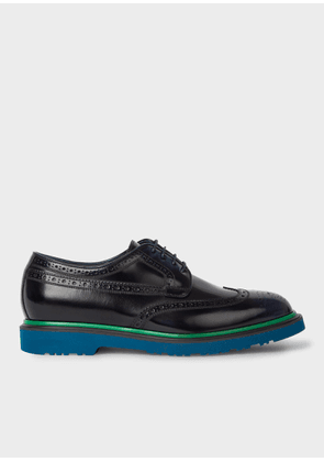 Men's Dark Navy Leather 'Crispin' Brogues With Petrol Soles