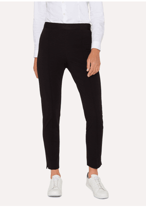Women's Black Stretch-Cotton Skinny-Fit Trousers