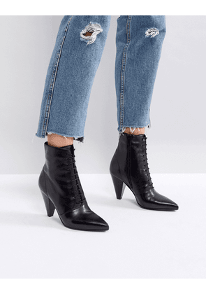 ASOS EVERLASTING Leather Lace Up Boots - Black leather