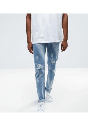 ASOS TALL Slim Jeans In Vintage Light Wash With Bleaching And Rips - Light wash vintage