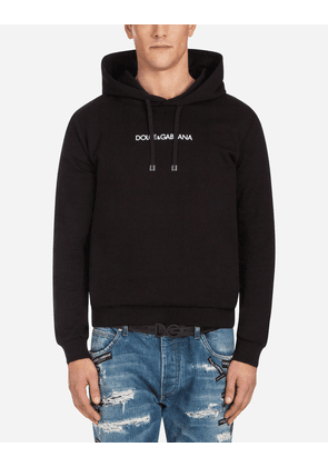 Dolce & Gabbana Sweaters - COTTON SWEATSHIRT WITH EMBROIDERY AND HOOD BLACK